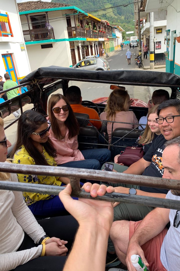 Riding the jeep to the coffee farm in Jardin, Colombia